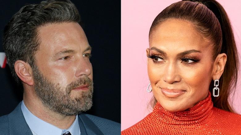 Ben Affleck smiler (til venstre), Jennifer Lopez smiler (til høyre)