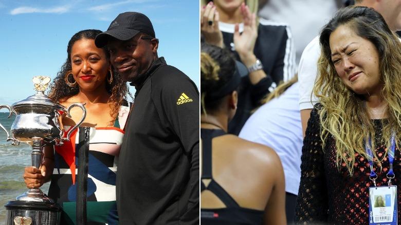 Naomi Osaka og Leonard Francois på Women's Australian Open 2019;  Naomi Osaka og Tamaki Osaka på US Open 2018