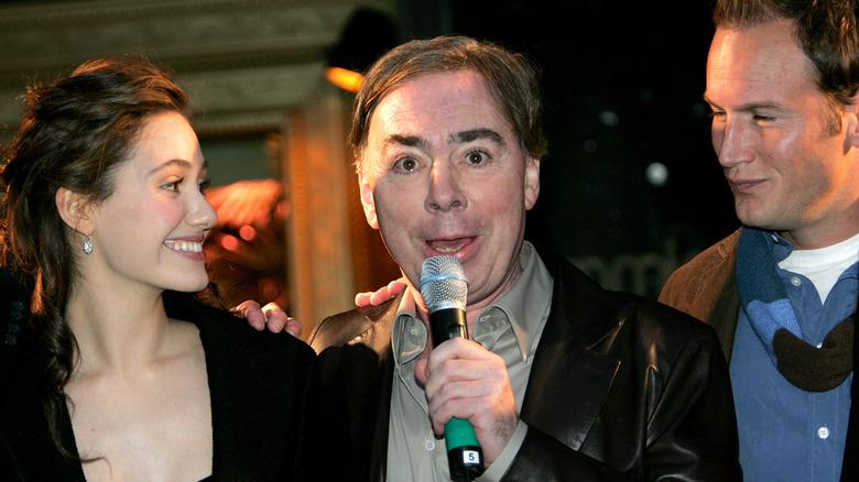 Emmy Rossum, Andrew Lloyd Webber og Patrick Wilson på arrangementet