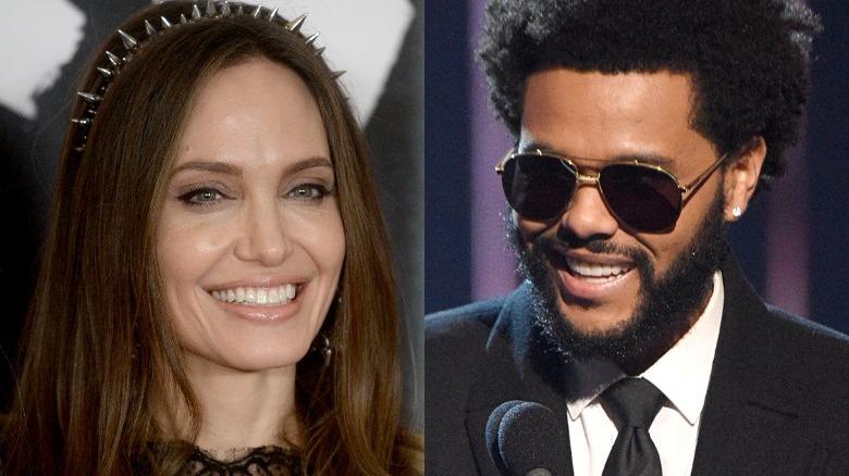 Angelina Jolie og The Weeknd smiler i delt bilde