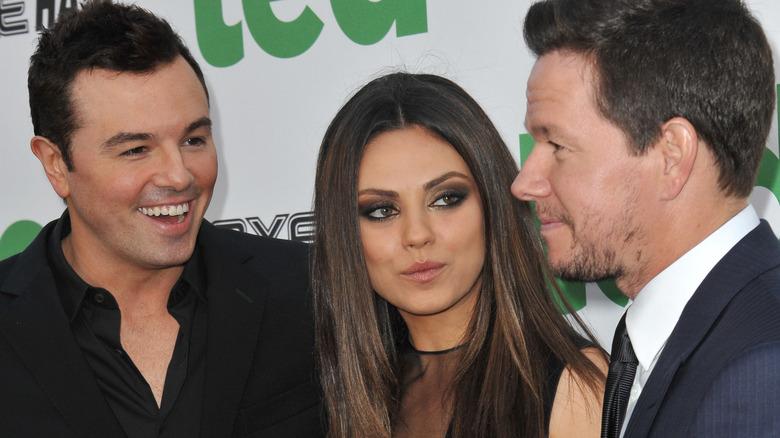 Seth MacFarlane, Mila Kunis og Mark Wahlberg på 'Ted' premieren
