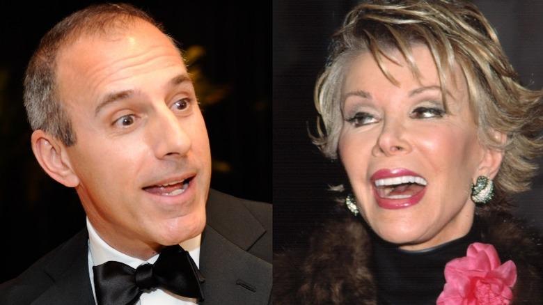 Matt Lauer overrasket (til venstre), Joan Rivers ler (til høyre)