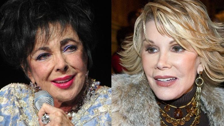 Elizabeth Taylor smilende (venstre), Joan Rivers smilende (høyre)