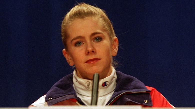 Tonya Harding på en pressekonferanse