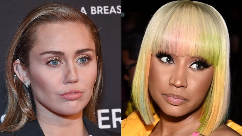 Miley Cyrus poserer og Nicki Minaj poserer