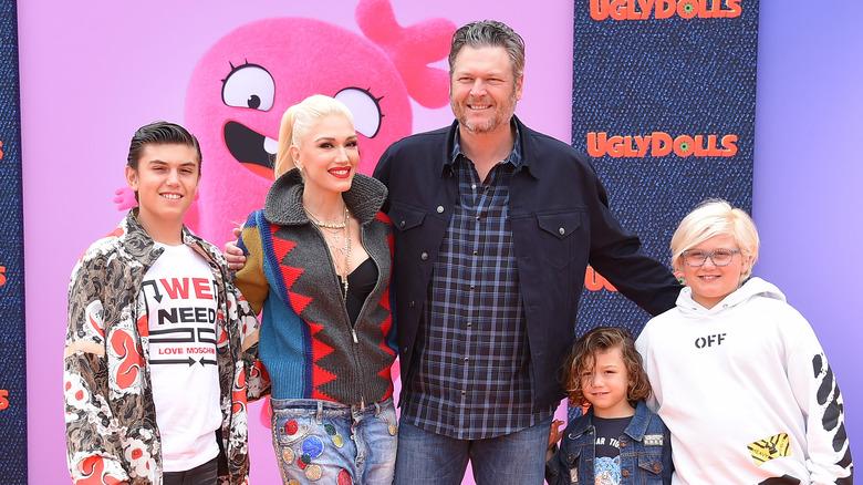 Gwen Stefani med Blake Shelton og barna hennes