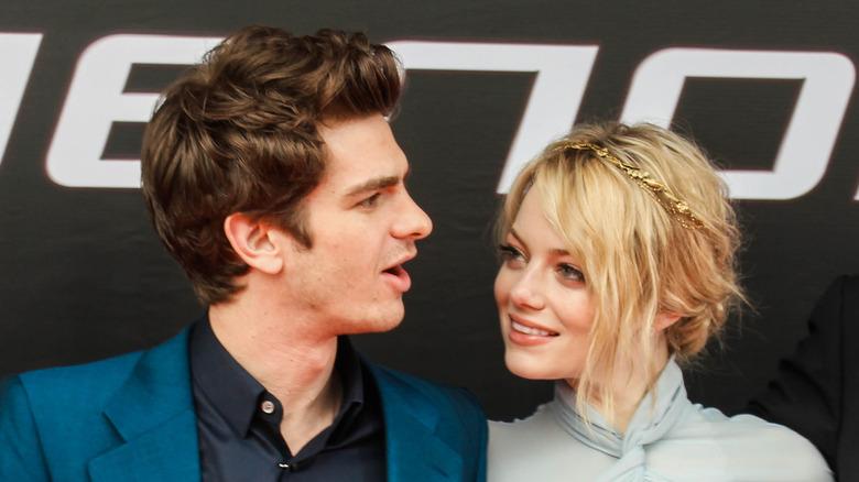 Andrew Garfield og Emma Stone på The Amazing Spider-Man-premieren