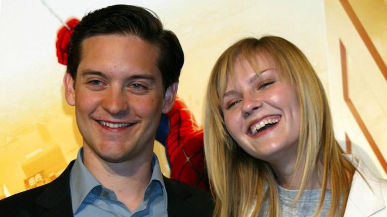 Tobey Maguire og Kirsten Dunst som promoterer Spider-Man