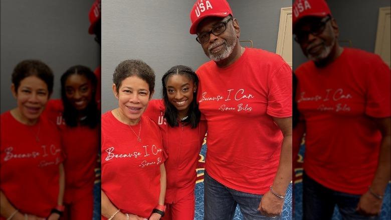 Simone Biles med foreldrene