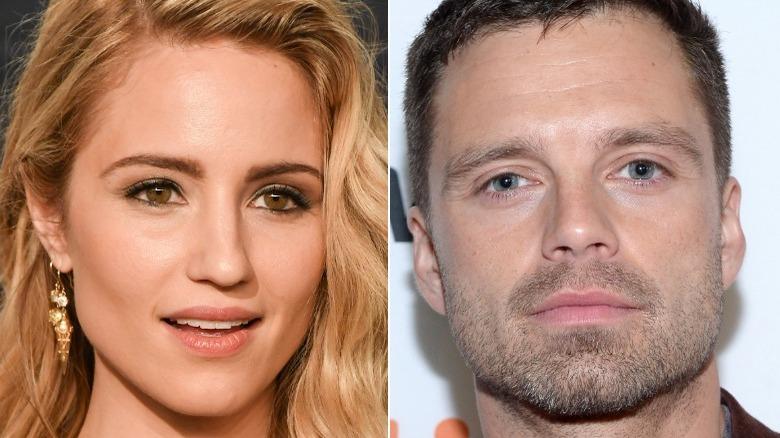 Dianna Agron smiler munnen åpen, Sebastian Stan smiler