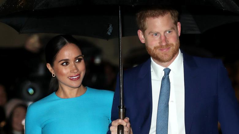 Meghan Markle og prins Harry smilte under paraplyen