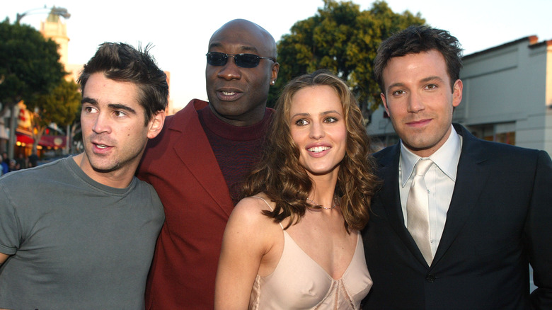 Colin Farrell, Michael Clarke Duncan, Jennifer Garner og Ben Affleck stiller for bilder på premieren til 'Daredevil' i 2003