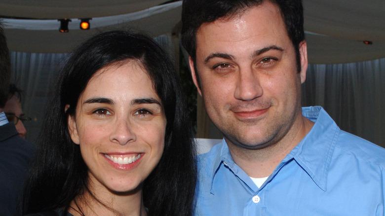 Sarah Silverman og Jimmy Kimmel smiler
