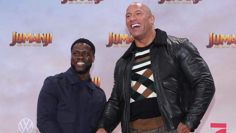 Kevin Hart og Dwayne Johnson på premieren