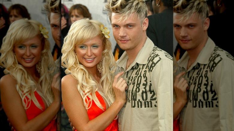 Paris Hilton og Nick Carter, begge smilende