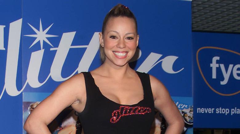 Mariah Carey smilende Glitter-begivenhet