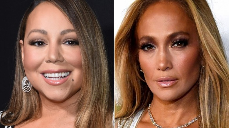Mariah Carey smiler, Jennifer Lopez ser på kameraet
