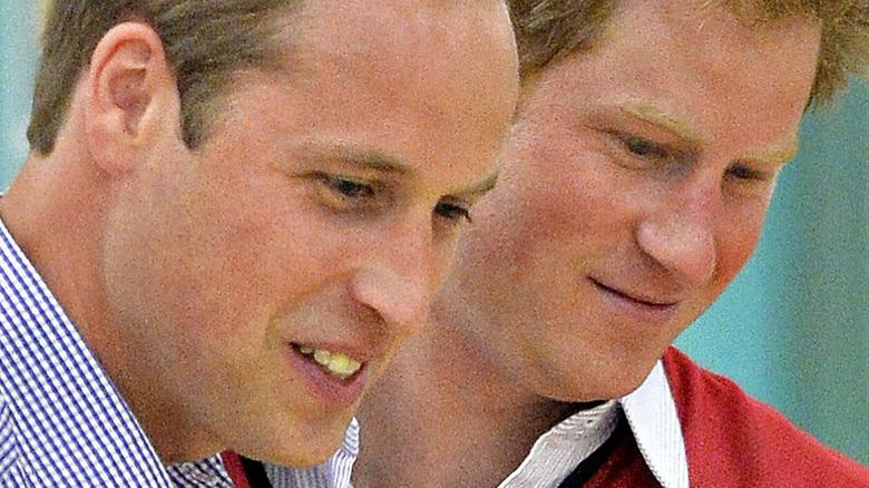Prins William og prins Harry smiler