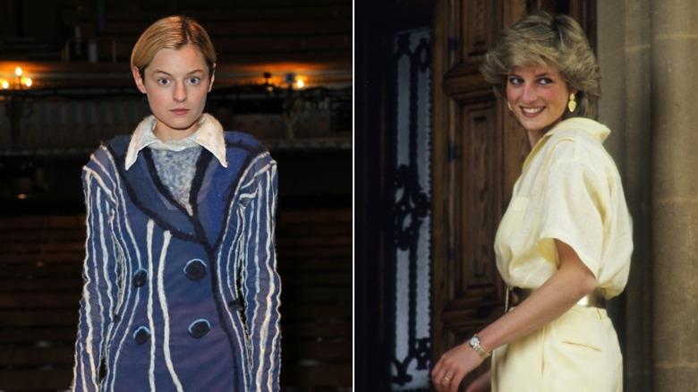 Emma Corrin og prinsesse Diana side om side