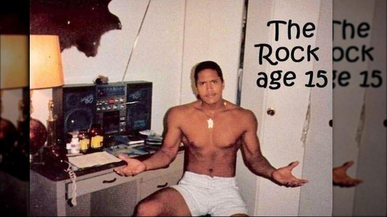 Skjorteløs Dwayne Johnson som 15 -åring