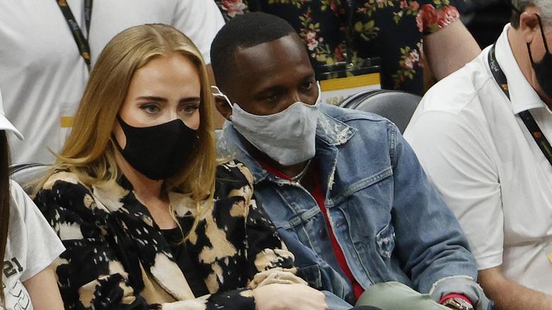 Adele og Rich Paul så på første omgang i Game Five i NBA -finalen
