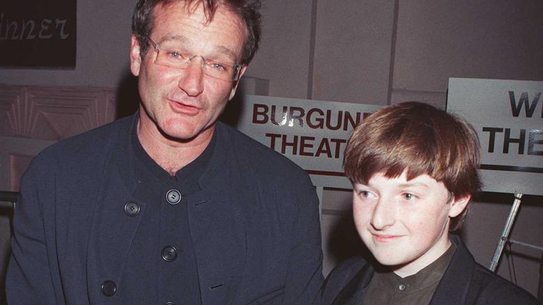 Robin Williams og Bradley Pierce på premieren 'Jumanji'
