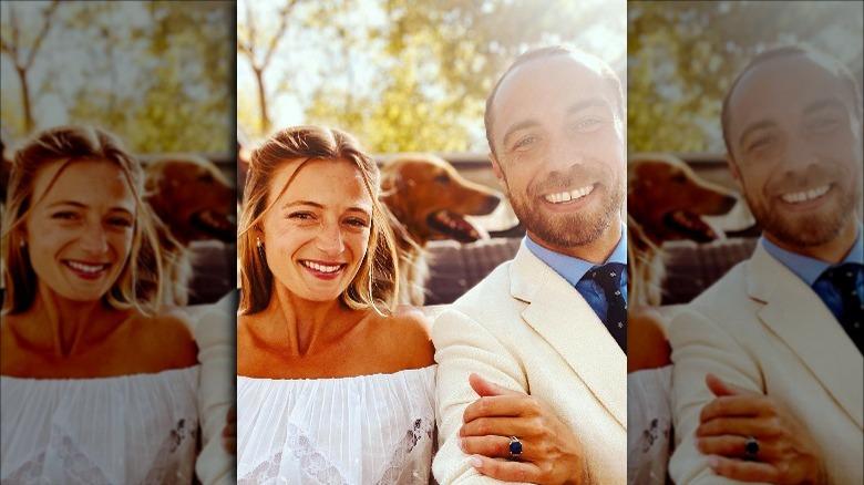 James Middleton og Alizee Thevenet poserer for selfie