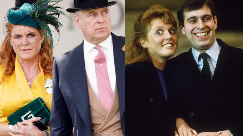 Sarah Fergie Ferguson og prins Andrew smiler