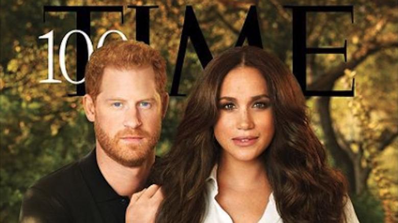 Prins Harry og Meghan Markle på forsiden av Time Magazine