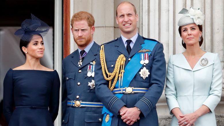 Harry og Meghan med William og Kate