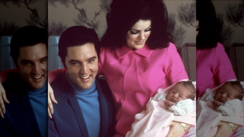 Elvis Presley, Priscilla Presley, Lisa Marie Presley, 1968