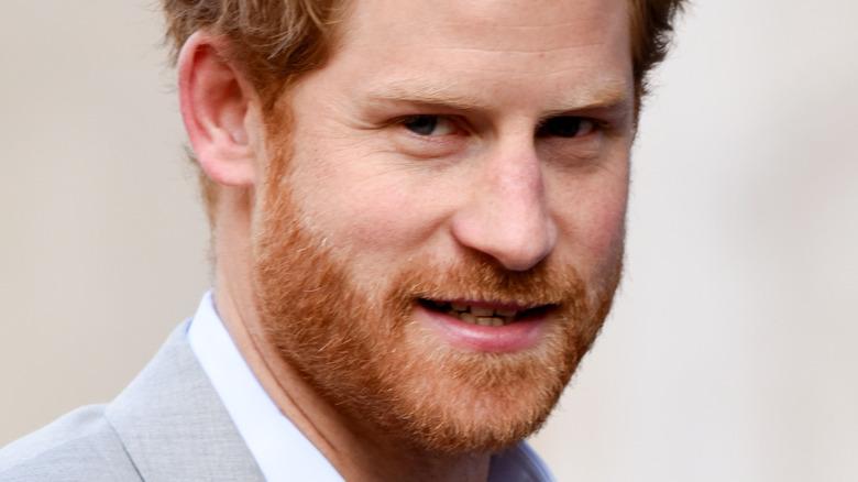 Prins Harry ser på kameraet med et lite smil